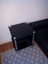 2 Tier Black Glass Side Table