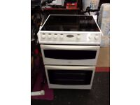 belling 600mm wide electric cooker with halogen hobs and double fan assisted ovens