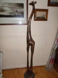 REAL AFRICAN ART-HAND CARVED 6FT GIRAFFE