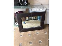 Large Leather Mirror in Excellent condition