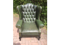 Green Leather Chesterfield Arm Chair..Button back
