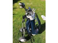14 Golden Eagle Golf Clubs, 20+ Balls & Pegs with Howson trolley bag