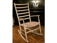 CHARMING HAND WAXED 1940'S WOODEN ROCKING CHAIR - SHABBY CHIC - LOVELY PATINA - PRETTY FLOWER FABRIC