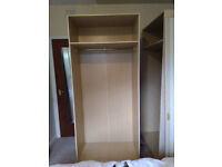 Two wardrobes - but only one has both doors