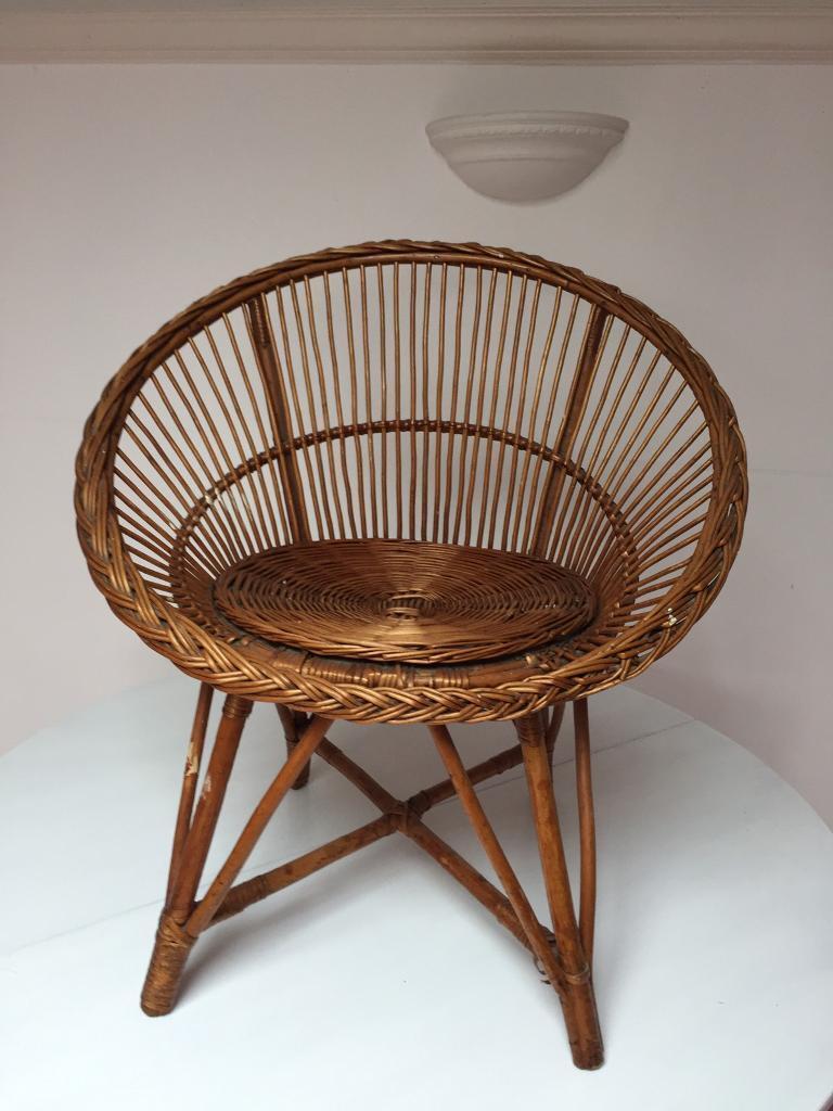 Retro 1960 S Vintage Woven Rattan Wicker Satellite Chair