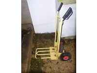 Sack truck , hardly used. Pneumatic tyres.