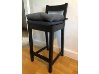 Two IKEA Nordviken black bar stools with backrest