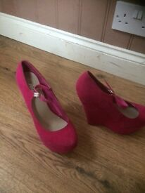 Pink wedged shoes size 7