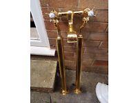 H.E. Rudge & Co Ltd - Vintage retro freestanding bath filler mixer tap - gold colour