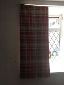 Red check curtains 54 drop by 64 width