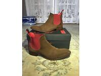 Jeffery West Horrorshow Libertine Chelsea boot, honey/red suede - UK size 9