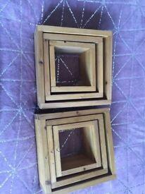 2 sets of 3 box shelves.