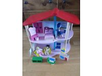Wooden dolls house with original 2 dolls and all furniture, suitable from 3yr