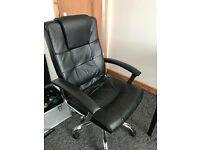 Barely used office chair black leather effect