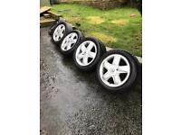 """Four Renault Clio 15"""" alloys + spare wheel and wheel nuts"""