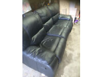 Black leather 3 seater sofa with recliners