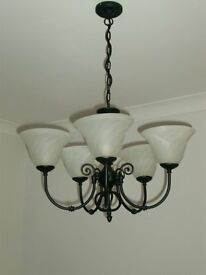 Traditional style black 5 x light fitting