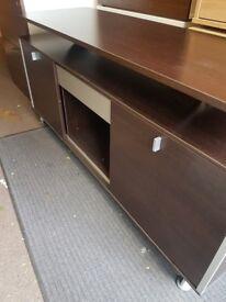 Low office 2 door side cupboard very smart in a dark wood effect Bargain