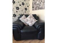 Black leather sofa suite for sale