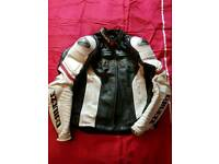 DAINESE red white black leather jacket