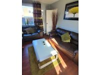 Brown leather sofas 3 seater and 2 seater