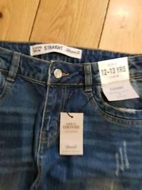 Girls Denim Blue Jeans Age 12-13 Yrs Brand New