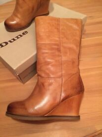 Ladies Dune tan leather wedge boots brand new size 7 coat £130