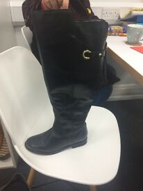 Black thigh high boots size 6