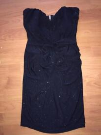 Lipsy Glitter Dress - Size 6 - Black Bodycon - Stretch Material Was £65 Stunning