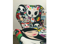 fully customised and upholstered modern chair in Genuine Tokidoki fabric