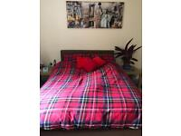 Faux leather bed and mattress