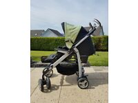 Silvercross pram with carrycot, fleecy insert with foot muffler and raincover