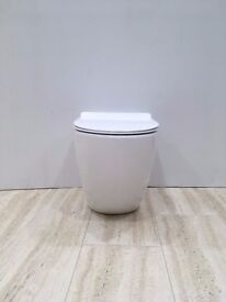 Modern Rimless Back To Wall Toilet WC With Ultra Slim Soft Close Seat RRP £350