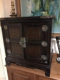 Gorgeous Vintage Lockable Oriental Dark Wood 2-Door Cabinet with Brass Hardware