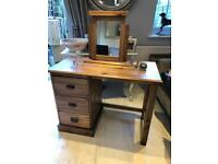 pine 3 drawer dressing table with mirror