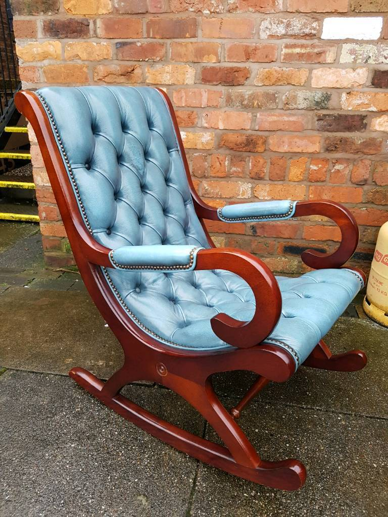 Terrific Chesterfield Antique Blue Leather Rocker Slipper Chair Excellent Condition In Stoke On Trent Staffordshire Gumtree Inzonedesignstudio Interior Chair Design Inzonedesignstudiocom