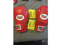 Pro Box 'Super Spar' Leather Sparring Gloves Red (20oz) - deodoriser included