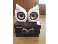 Krator USB speakers. Two 5 watt portable speakers. Good sound and quirkie looking