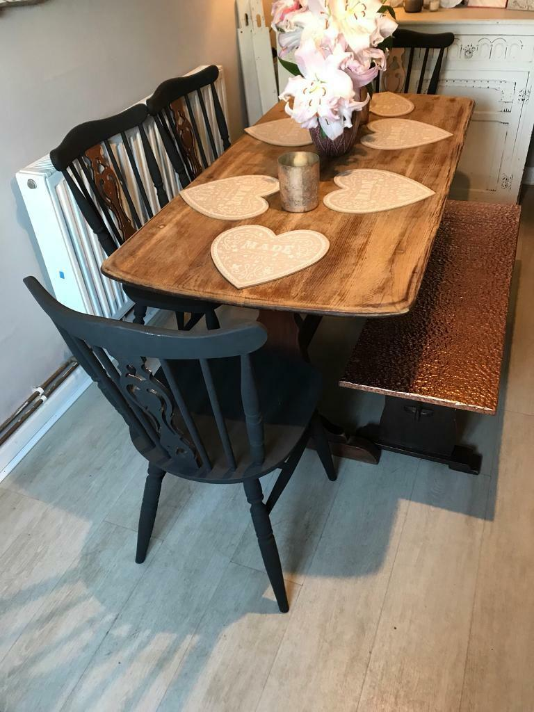Solid Oak Grey Copper Farmhouse Dining