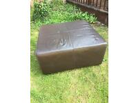 Extra Large Square Brown Leather Footstool Pouffe Table