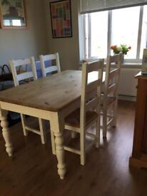 Farmhouse solid wood table and 4 chairs