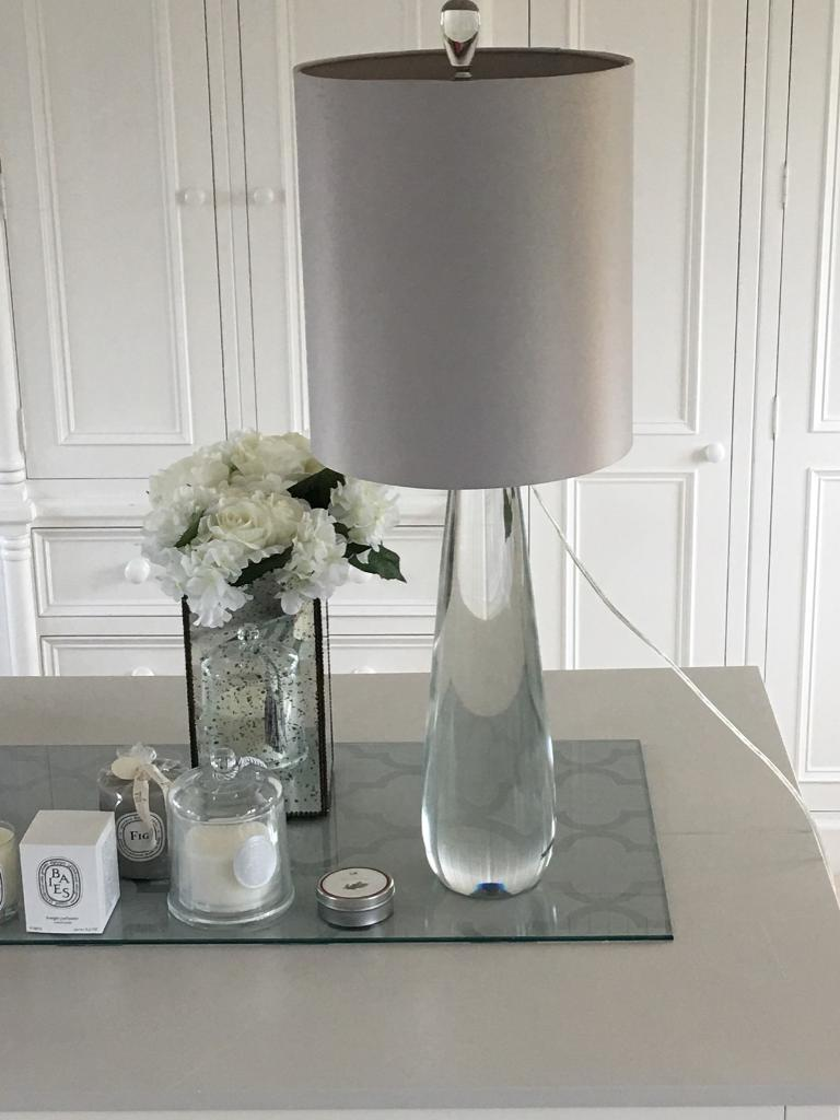 Gorgeous high quality luxe extremely heavy solid glass lamp base and grey silky shade- stunning!