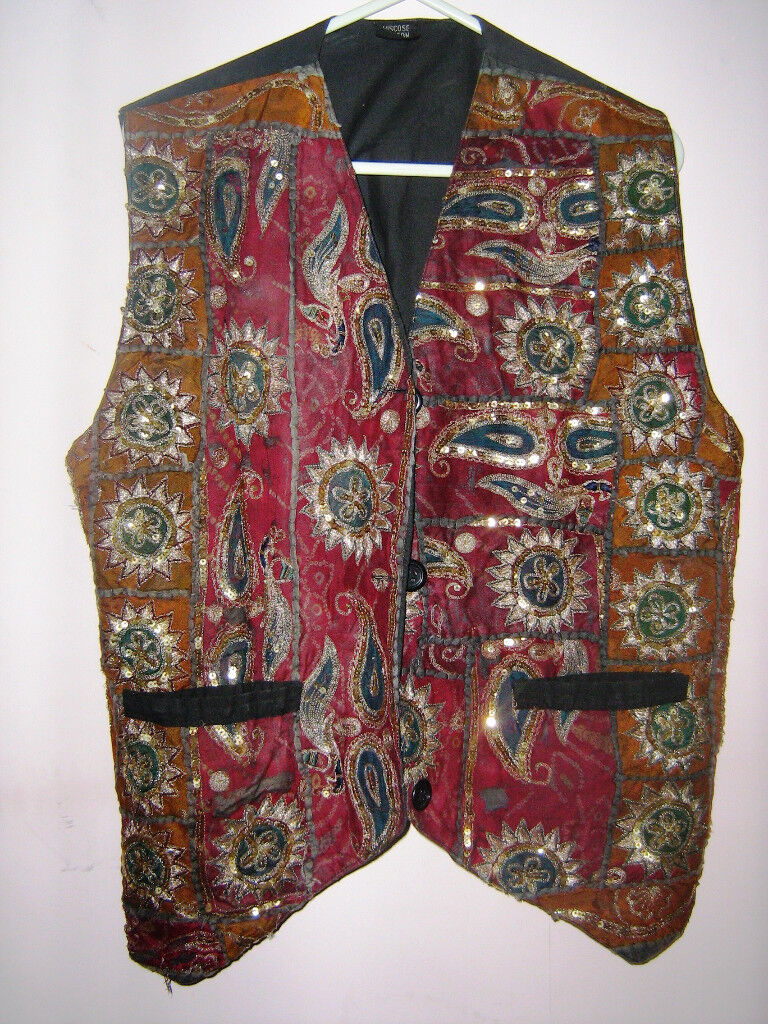 Vintage Waistcoat- for either gender- sequins on Paisley design fabric