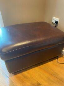 Brown leather foot rest storage puffie