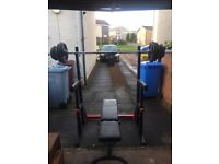 100kg weights/barbell kit. Weight bench and squat/dip rack