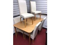 Extendable Table and 6 Cream Leather chairs