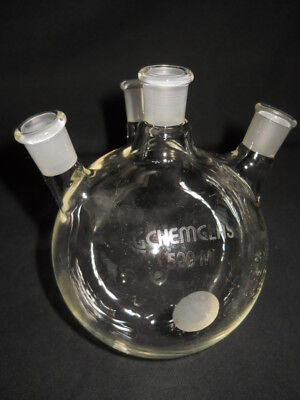 Chemglass 1420 Joints Angled 4-neck 500ml Round Bottom Distilling Flask