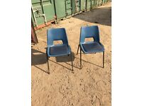 2 x Blue Stacking Chairs Steel Framed Plastic Events Stackable