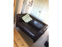 Brown leather faux 2 seater sofa - for collection