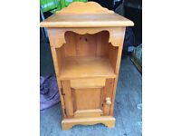 Ornate solid pine bedside cabinet in good sturdy condition